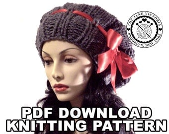 Dirigible Beret Knitting PATTERN, Itarille Falassion, PDF DOWNLOAD