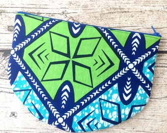 Large Zip up pouch. Blue and Green Cosmetic bag African print. Zippered pouch, make up,  Purse, cosmetic purse. Wax print