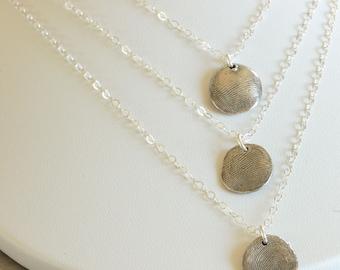 2 Thumbprint Pendants Necklaces -  finger print pendants