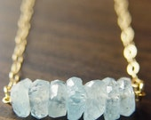 ON SALE Aquamarine Nugget Necklace - 14k Gold Fill