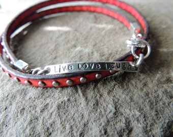 Studded Red Leather Bracelet, Artisan Silver Link, Live Laugh Love, Artisan Jewelry, Southwestern Style, Urban Chic Jewelry, Rustic Jewelry