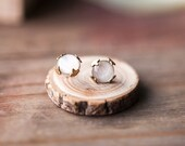 White earring studs - White tulip earrings - Rustic style jewelry (E155)