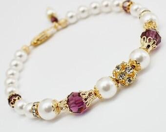 Amethyst Pearl Bracelet, Bridesmaids Bracelet, Gold Filigree Bridal Jewelry, Swarovski Elements, Rhinestone, Victorian Wedding Jewelry