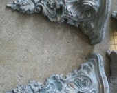 Pair of Shabby Chic  Wall Shelves Plate Shelves Display Shelves Chalk Paint Gold Patina