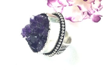 Enigma Ring - Sterling Silver Statement Ring with Large Raw Amethyst Geode - Size 9