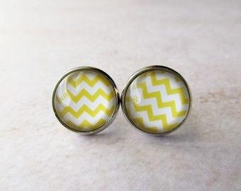 Modern Minimalist Yellow and White Zig Zag Glass Dome Stud Earrings