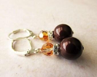 Deep Maroon Pearls and Copper Crystal Earrings. Swarovski