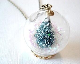 Snow Globe Necklace Miniature Christmas Tree Necklace Christmas Necklace Holiday Tree Jewelry