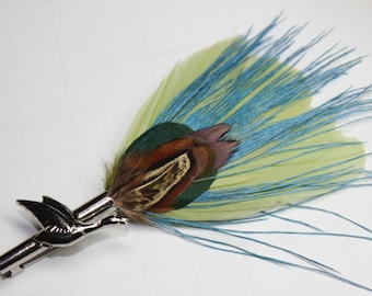 """Men's Lapel Pin, Vintage Feather Boutonniere, Hat Pin Brooch """"Pondlife 1"""" - green, aqua, pheasant feathers with silver toned duck pin base"""