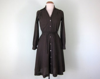 60s brown & white polka dot long sleeve fitted waist day dress (s - m)