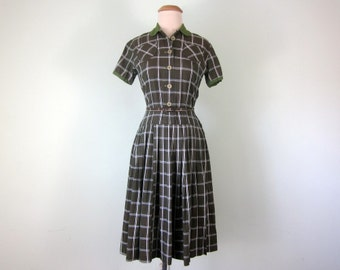 60s moss green plaid short sleeve dropped waist cotton print dress (xs - s)
