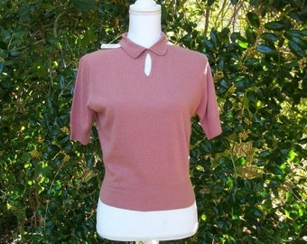 SALE 50s Cashmere Sweater size Small Bernard Altman Austria De Pinna Cashmere NOS