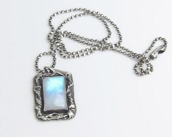 Rainbow Moonstone Fused Silver Necklace