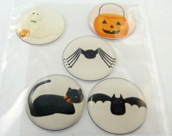 """Handmade Halloween Epoxy Stickers.  3/4"""" or 20 mm Round.  Pumpkin, Cat, Bat, Ghost, Spider."""