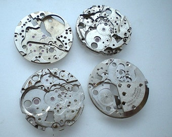 Vintage steampunk watch parts, 4 watch back plates (L7)