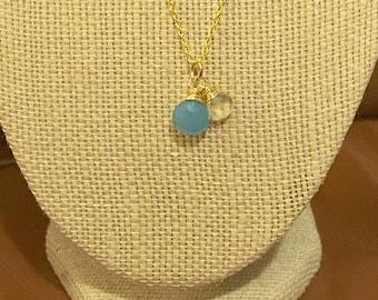 Faceted Blue Chalcedony and Lemon Quartz Teardrop Pendant Necklace on 14k Gold