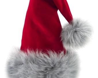 St. Nick Grey Lamb Fur Santa Hat with Jingle Bell, Reversible