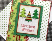 Christmas Card with Matching Embellished Envelope - Merriest Trees