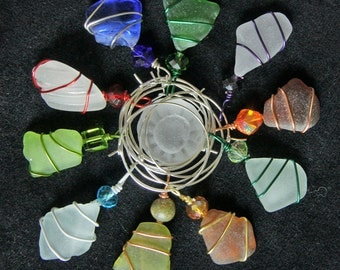 Sea Glass  Wine Charms , Set of 10, Wire Wrapped, Can be Used as Pendants or Charms