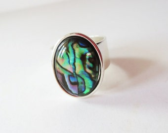 Natural paua shell ring.  Abalone ring.  Silver ring. Wide band ring.  Paua shell jewelry.  Abalone jewelry.