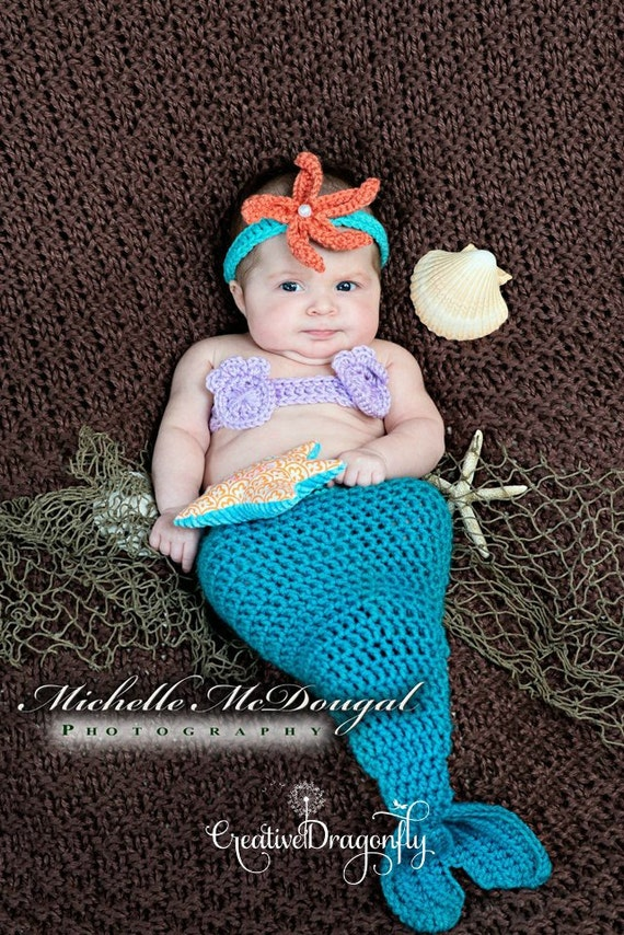 Newborn Baby Girl Mermaid Halloween Costume 0 to 3 month