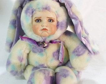 Vintage porcelain plush colorful bunny kid face by aurora