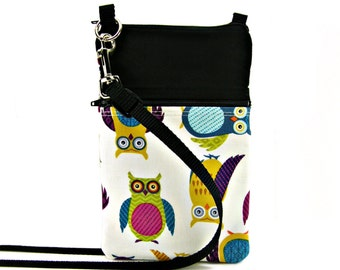 Fabric Sling Bag, Small, Owl Purse, Owl Bag, Owl Pouch, Mini Hipster, Crossbody Bag, Zipper, Gadget, Travel Purse, Pouch, Zipper Purse