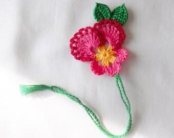Handmade  Crochet  3D  Pink  Pansy  Flower  Bookmark,Bookmarks , Book Marker ,Books