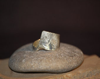 Sterling Silver Off Center Ring Wide Band