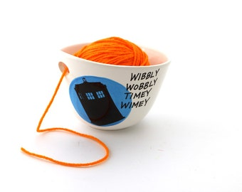Doctor Who Yarn Bowl, Tardis, wibbly wobbly timey wimey, white with turquoise blue circle
