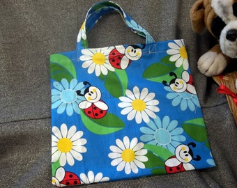 Book Lunch N Small Gift Tote Bag, Lady Bugs on Blue Print