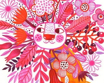 Lion in Pink Bloom... - limited edition giclee print of an original watercolor illustration (8 x 10 in)