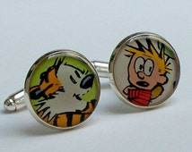 Cuff Links, Calvin and Hobbes, Vintage comic book CALVIN and HOBBES comic characters recycled into Silver Plated Cuff Links