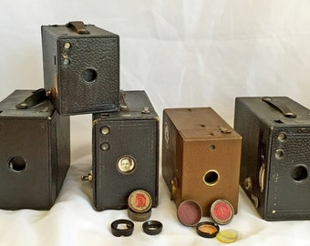 5 Vintage Kodak Brownie Cameras plus Misc. Attachments  - Weston MasterII Exposure Meter