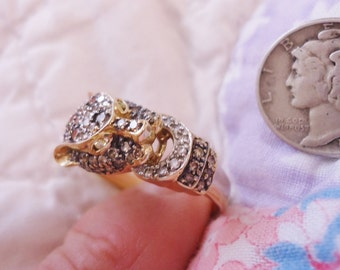 Estate Vintage 14K Gold/Diamonds Ring Buckle in Mouth Size 10 1/2 - 11