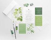 Wedding Invitation, Garden Botanical Wedding Collection, Green and White Wedding Themed Invitations