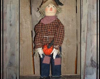 Primitive folk art standing scarecrow wood and cloth pumpkin hafair ofg faap haguild