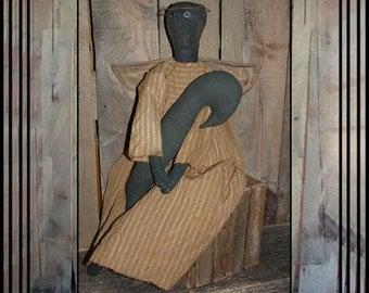 Crow Angel primitive black folk art doll fabric wings OFG HAFAIR faap handmade crow
