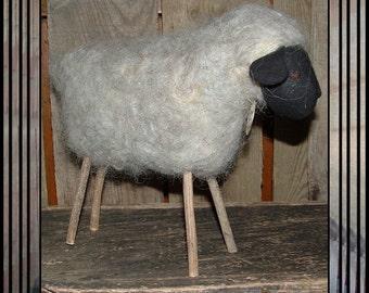 Primitive folk art felted wool sheep Spring lamb stick legs HAFAIR OFG faap