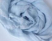 100% Linen Scarf. Light Blue linen scarf. Powder Blue natural linen scarf. Sky blue flax scarf. Woman Mens scarf, Boyfriend Gift for him