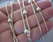"Silver Box Chain Necklace, 5mm Ball Beads, Sterling Silver, Italy, 2mm, 36"" long, classic, Long Silver Necklace, Gift for Her"