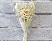 Cream Heart Lavender Sachet Hand Made Vintage Lace Flower