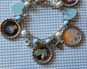 Alice in Wonderland bottle cap and other charms curious girl charm bracelet