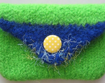 Petite Purse Wool Hand Knitted Felted Green Blue and Yellow