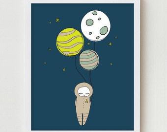 Astronaut Illustration Art Print Planet Bedroom Wall Decor Outer Space Art Boys Room Wall Art Illustration Space Planets Girls Bedroom Print