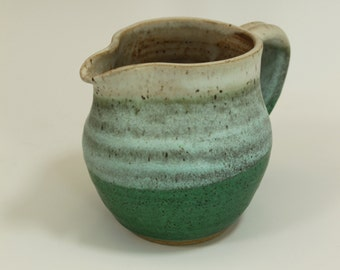Ceramic Pitcher in cream and weathered green  Ready to Ship- In-Stock