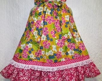 Girls Dress 2T/3T Yellow Pink Flowers Dots Lace Boutique Pillowcase Dress Pillow Case Dress Sundress