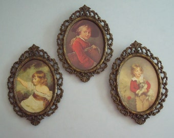 Set of 3 Vintage Ornate Metal Oval Frames with Glass, Made in Italy, approx. 7 x 5 in.