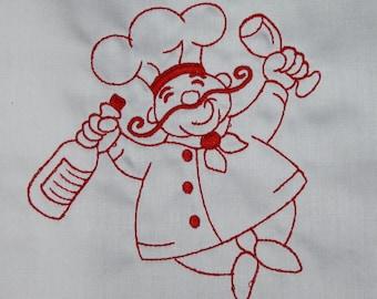 Redwork Chefs Machine Embroidered Quilt Blocks Set B