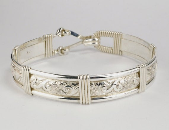 Made In Alaska Solid 925 Sterling Silver Waves & Flowers Patterned Wire Wrapped Bracelet